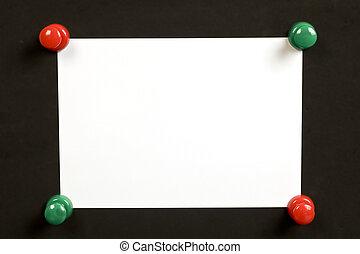 pushpin, &, nota, verde, em branco, vermelho