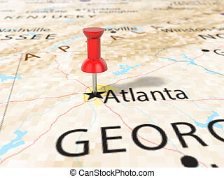Pushpin on Atlanta map background. 3d illustration.