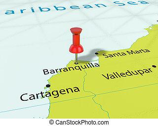 Pushpin on Barranquilla map background. 3d illustration.