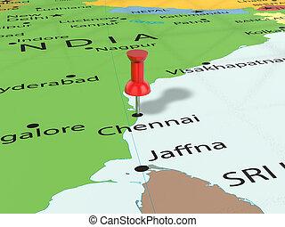 Pushpin on Chennai map