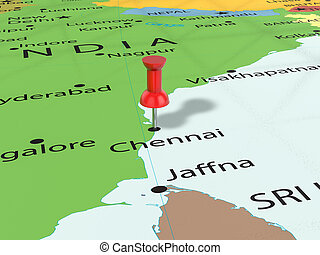 Pushpin on Chennai map background. 3d illustration.