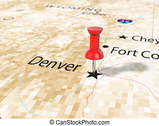 Pushpin on Denver map background. 3d illustration.