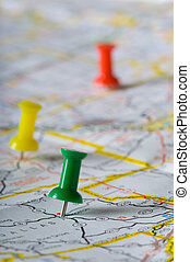 Pushpin on Map - Pushpin on map pinpointng a particular area...