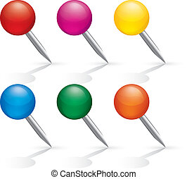 pushpin, set., aislado, icons., white., alfileres