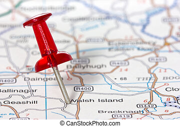 pushpin, showing, mapa, usedlost