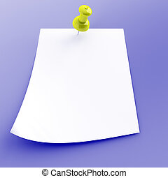 pushpin with attached white sheet of paper on a blue background