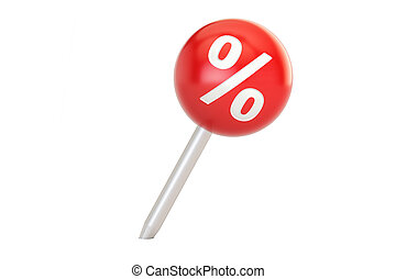 Pushpin with percent sign, sale and discount concept. 3D rendering