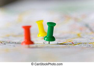 pushpins, 地図