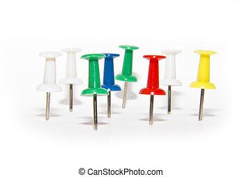 pushpins, branca, verde azul, vermelho