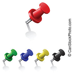 Pushpins - Set of push pins in different colors. Vector...