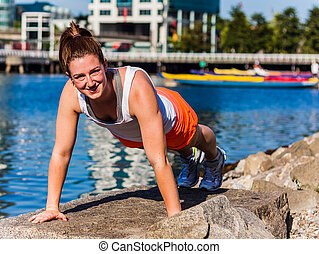 pushup on rock - extended