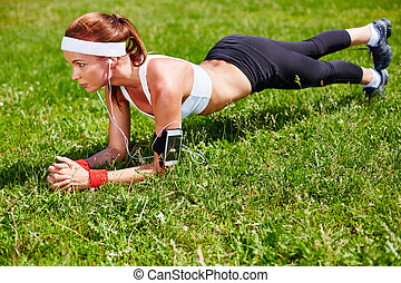 Pushups on grass