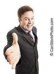 Pushy Salesman - Pushy salesman with an oversized grin,...