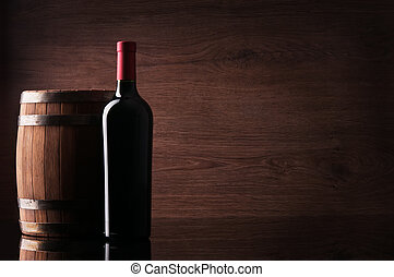 puskacső, piros palack, bor