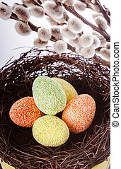 Pussy willow background and easter eggs decorations