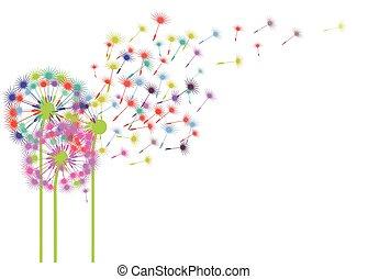 Pusteblume im Wind - Dandelions in the wind illustration