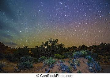 pustynia krajobraz, w nocy