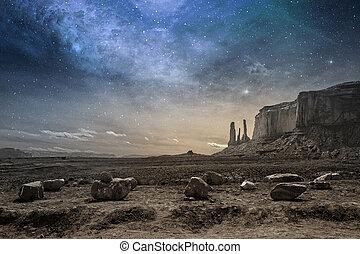 pustynia, skalisty, krajobraz, zmierzch