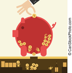 Saving concept. - Put coin in piggy bank but got stolen....