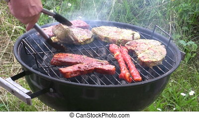 Barbecue - Put meat on a Barbecue