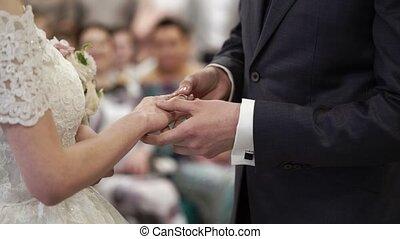 Put on wedding ring at ceremony