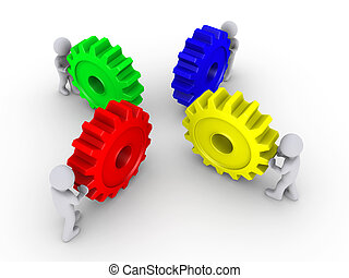 Put the right cogs together - Four 3d people pushing...