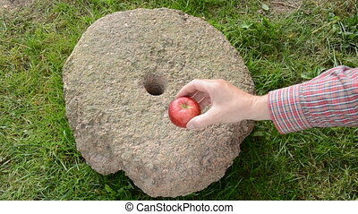 put three red apples on millstone