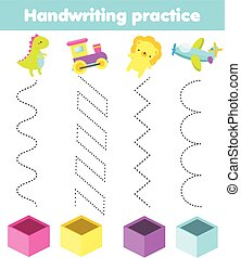 put toys in box. handwriting practice sheet. Christmas and new year activity for kids. Educational children game. Tracing for toddlers.