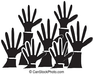 simple drawing of a silhouette group of people putting up their hands