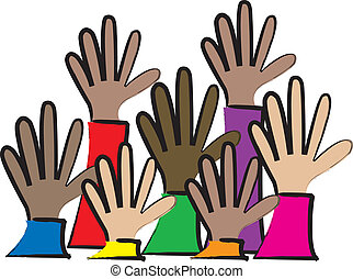 a simple cartoon drawing of a group of multicultural people putting up their hands