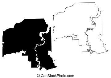 Putnam County, Florida (U.S. county, United States of America, USA, U.S., US) map vector illustration, scribble sketch Putnam map