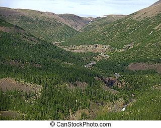 Putorana plateau - Aerial view on mountains of Putorana...