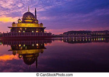 Putra Mosque in Putrjaya Malaysia at sunrise