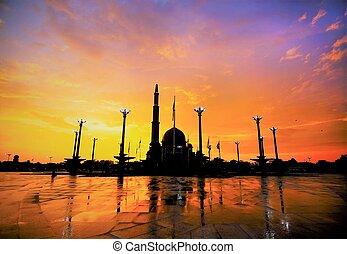 Putra Mosque is the principal mosque of Putrajaya, famous landmark in Malaysia.