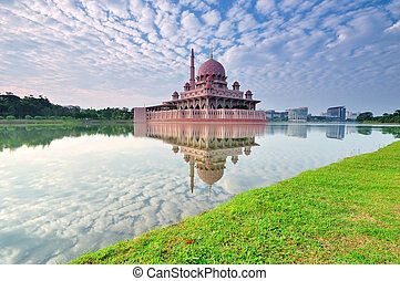 Putra Mosque is the principal mosque of Putrajaya, famous landmark in Malaysia.
