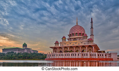 Putra mosque with the Prime Minister's of Malaysia office building in the background