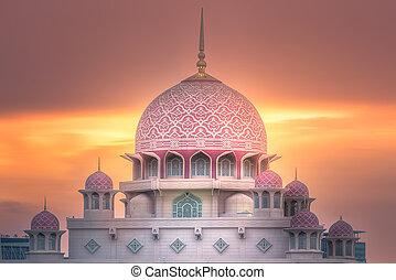 Putra Mosque with dramatic sky Putrajaya, Malaysia - Pink...