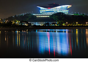 Putrajaya International Convention Centre builidng at night