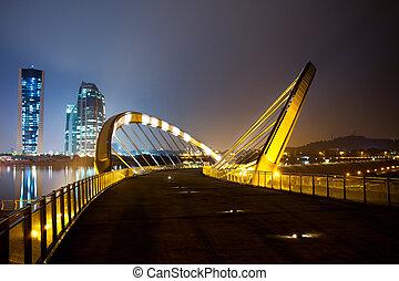 A bridge over a dam in Putrjaya, Malaysia at night.