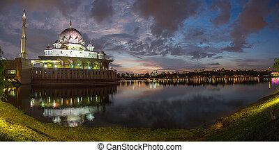 Putrajaya Mosque Malaysia Panorama in Twilight time.
