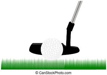 a putter and golf ball
