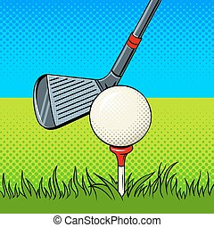 Putter and golf ball door pop art vector - Putter and golf...