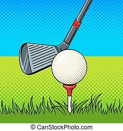 Putter and golf ball door pop art vector - Putter and golf...