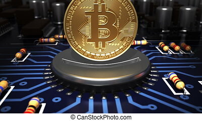 Putting Bitcoin Into Coin Slot Like A Computer Processor On Motherboard. 3D Animation.
