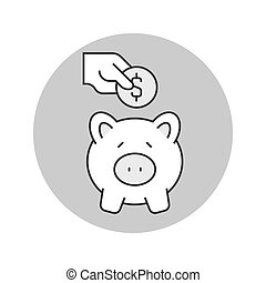 Putting coin in piggy bank icon. Saving money