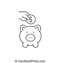 Putting coin in piggy bank on white background