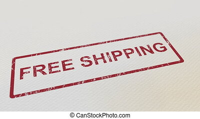 Putting FREE SHIPPING rubber stamp on the paper. Alpha matte...