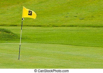 Putting green - A putting green with yellow flag. Shallow ...