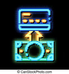 Putting Money Cash On Card neon glow icon illustration