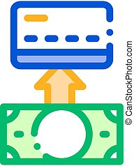 Putting Money Cash On Card Vector Thin Line Icon